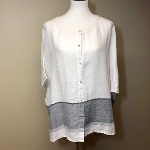 Tahari 100% Linen Button Down Blouse